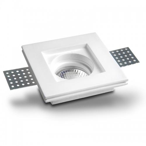 Faretto ad incasso per controsoffittature quadrato basso in gesso per lampade GU10 da 230V